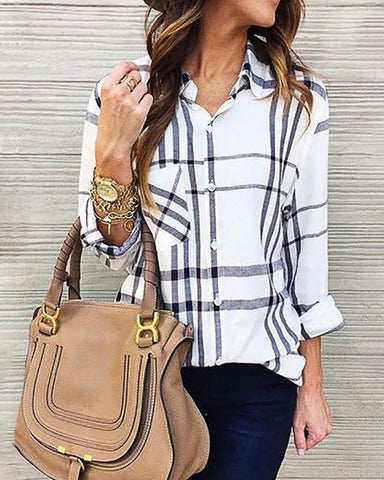 Plaid Button Design Chest Pocket Casual Shirt