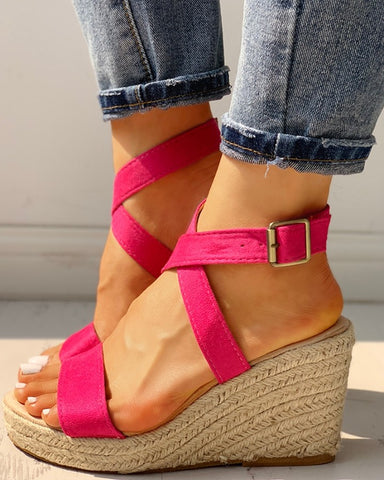 Suede Slingback Espadrille Wedge Sandals