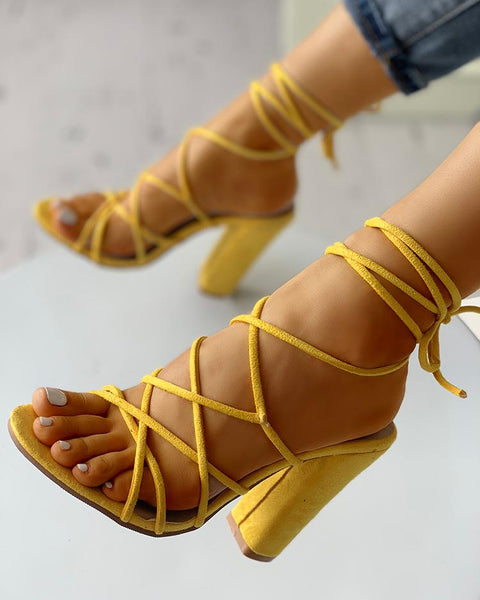 Sexy Lace-Up Open Toe Chunky Pump