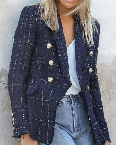 Plaid Raw Hem Button Decor Tweed Blazer