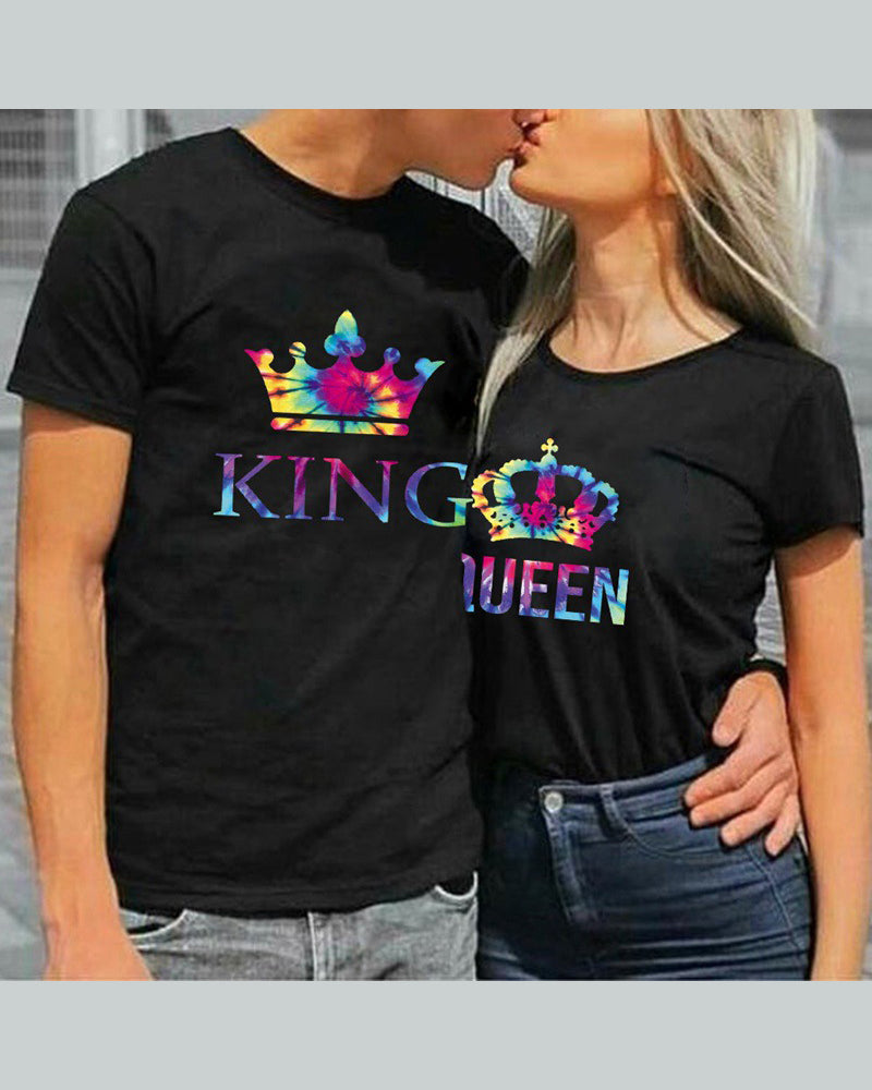 Multicolor Crown Print Short Sleeve Couple T-shirts