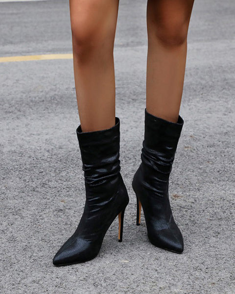 Pointed-toe Solid Color High Heel Boots