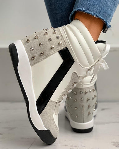 Rivet Colorblock Lace-up Hidden Wedge Sneaker