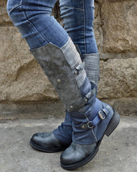 Round-toe Stitching High Boots