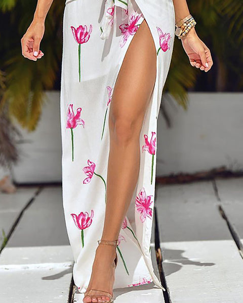 Floral Print Tie Front Crop Top & High Slit Maxi Skirt Set