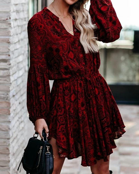 Printing Skinny Waist Long Sleeve Dress