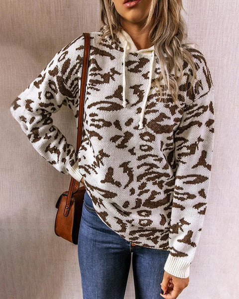 Leopard Long Sleeve Loose Hoodies Sweatshirts Sweater