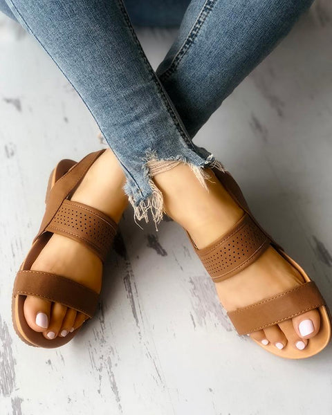 Eyelet Buckled Double Strap Flat Sandals