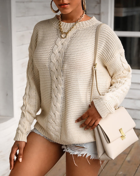Solid Cable Knit Long Sleeve Casual Sweater