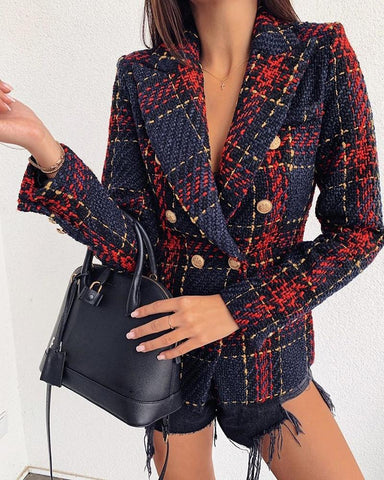Notched Collar Double-breasted Plaid Blazer