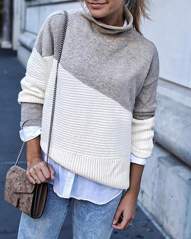 Colorblock Long Sleeve Knit Sweater