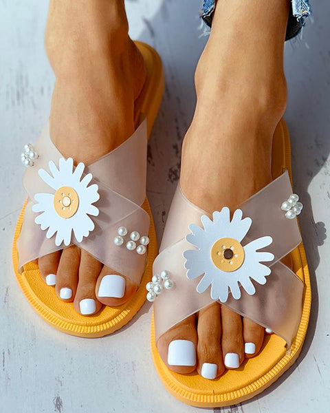 Daisy Pattern Beaded Transparent Flat Sandals