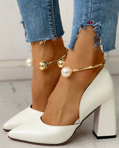 Solid Pointed Toe Beaded Chunky Heels