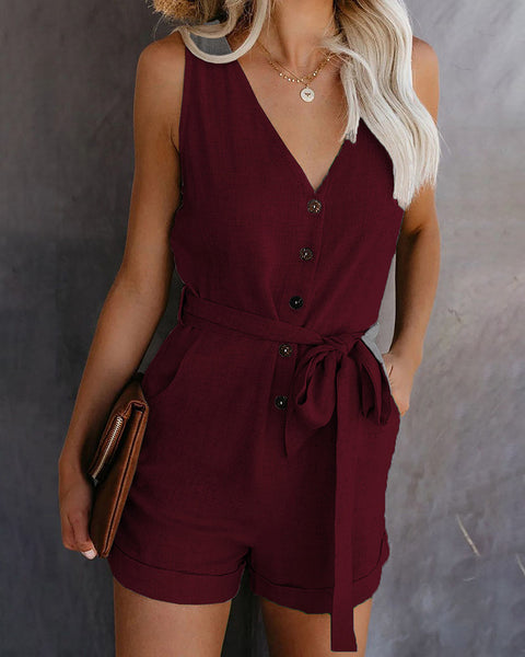 Button Design Sleeveless Casual Romper