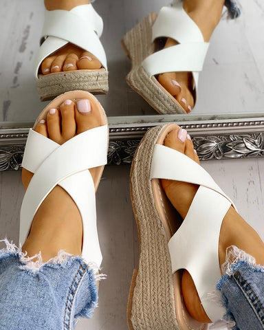 Crisscross Design Espadrille Wedge Sandals