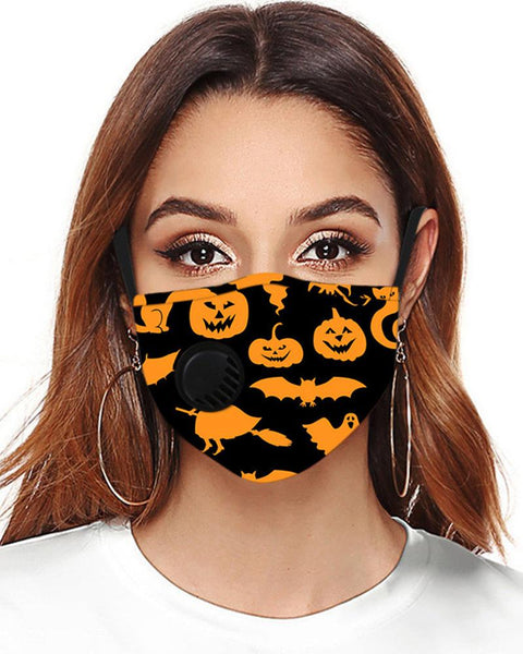Halloween Print Earloop With Valve Breathable Mask