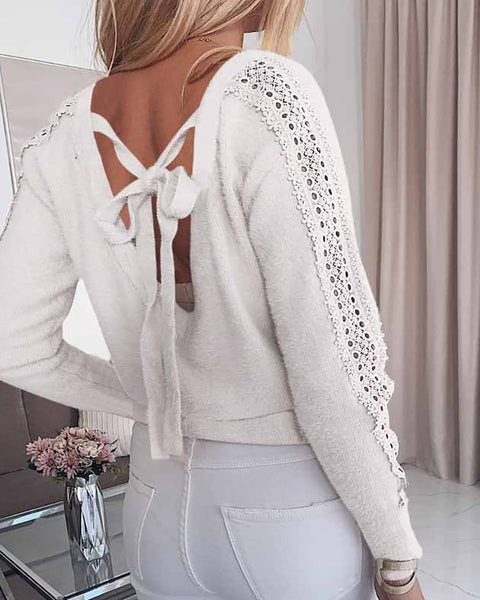 Eyelet Embroidery Tie Detail Backless Top