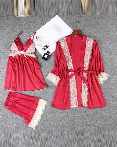 Satin Lace Trim Pajama Set