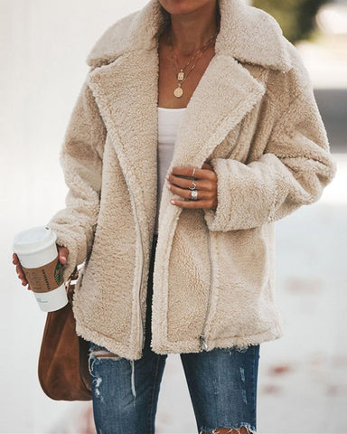 Solid Faux Shearling Zip Turn Down Collar Coat Jacket