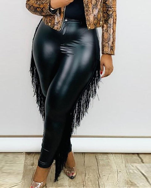Plus Size Tassel Design High Waist PU Leather Pants