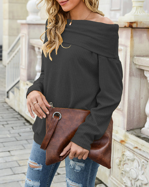 Plain Off Shoulder Long Sleeve Knit Sweater