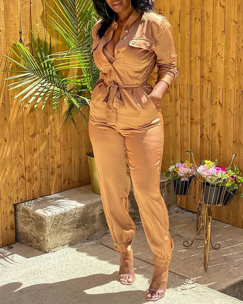 Buttoned Pockets Design Solid Long Sleeve Jumpsuit