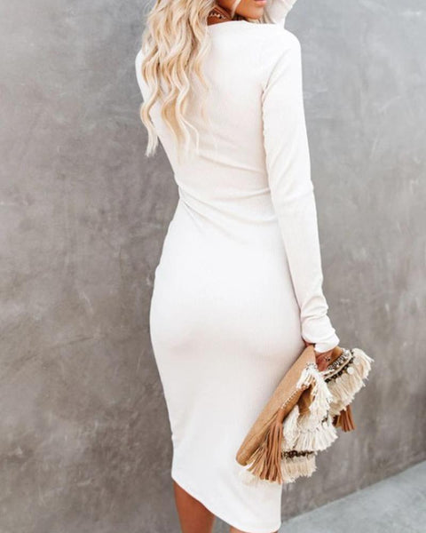 Solid Long Sleeve Skinny Cut-out Midi Dress