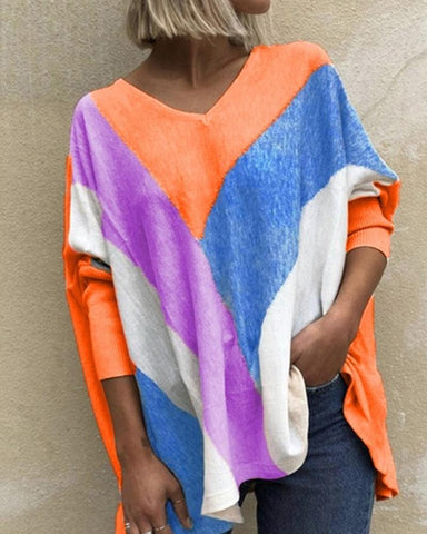 Colorblock Long Sleeve Loose Blouse
