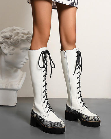 Round-toe Stitching Lace-up Long Boots