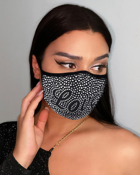Letter Pattern Studded Breathable Face Mask