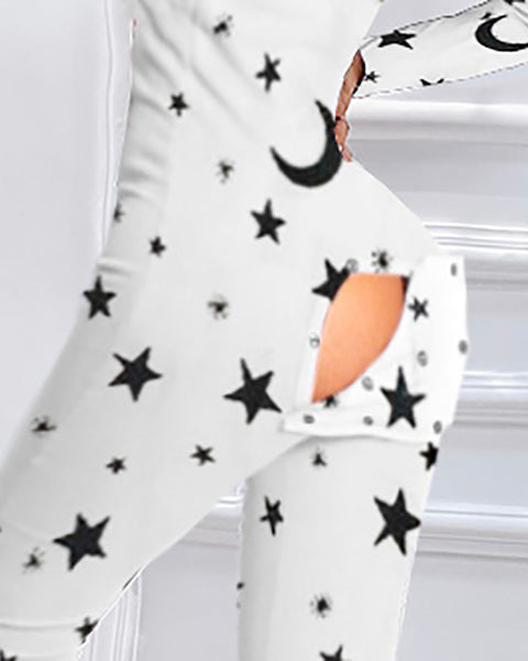 Star Moon Print Functional Buttoned Flap Adults Pajamas