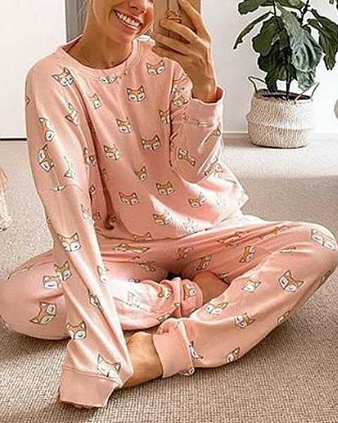 Fox Printing Long Sleeve T-shirt With Pants Suit Sets