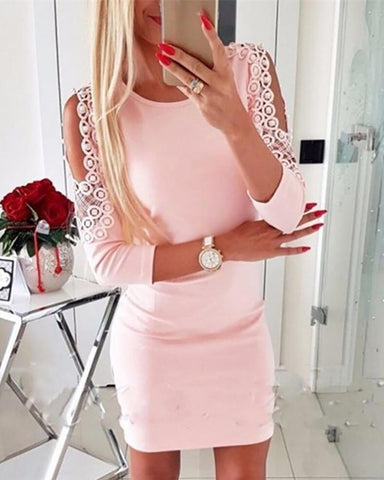 Cut Out Lace Insert Bodycon Dress