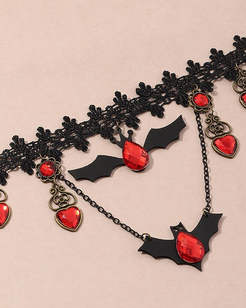 Halloween Bat Pattern Rhinestone Lace Necklace