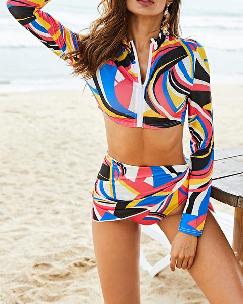 3PCS Print Long Sleeve Zipper Tankini Set
