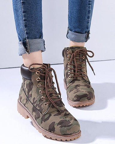 Camo Print Lace-Up Boots