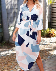 Asymmetrical Color Block Side Split Belted Casual Dress