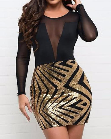 Sheer Mesh Splicing Chevron Stripes Sequin Dress