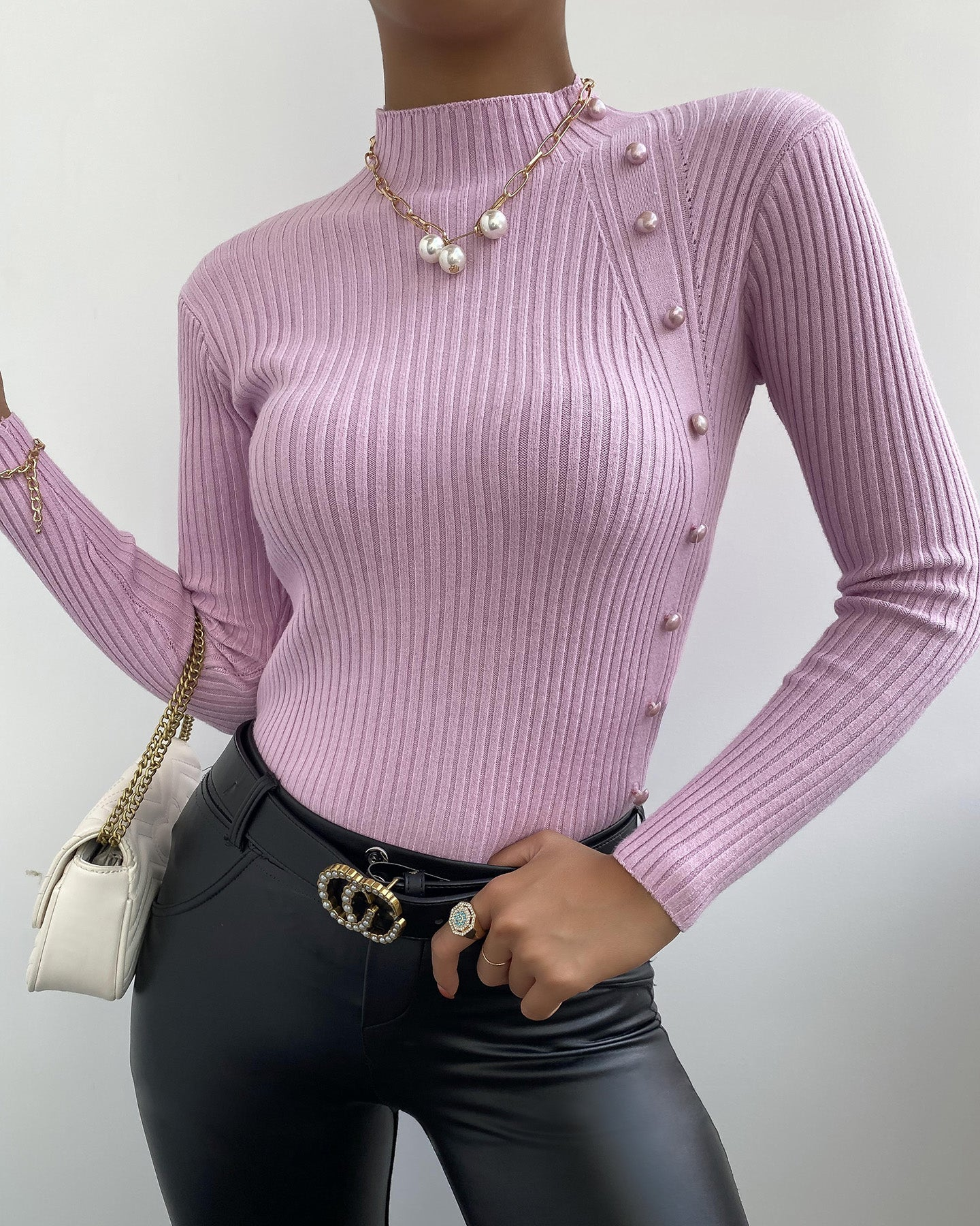 Beaded Long Sleeve Knit Sweater
