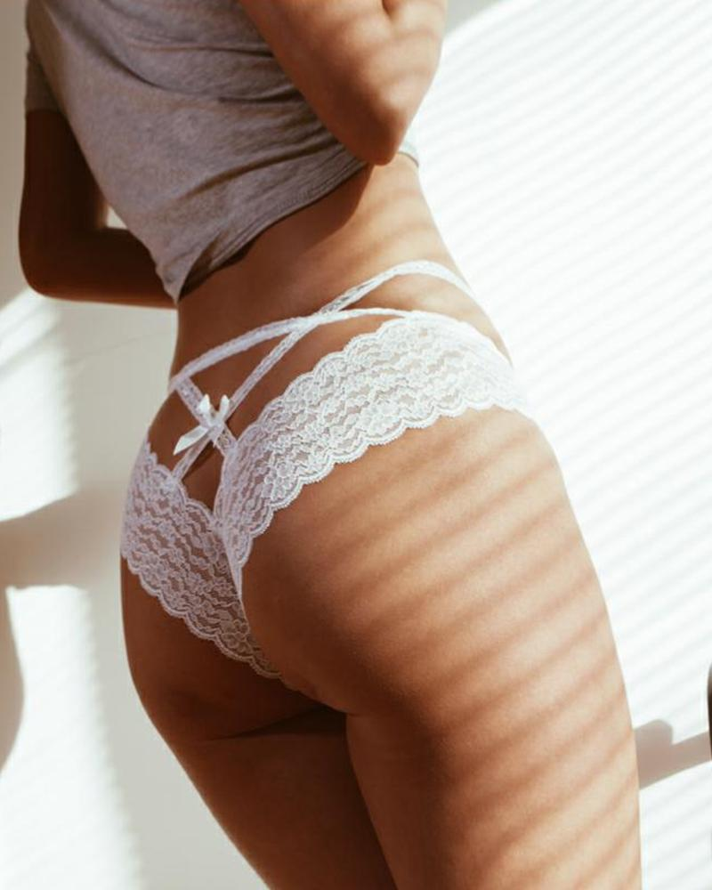 Solid Strappy Lace Skinny Panties