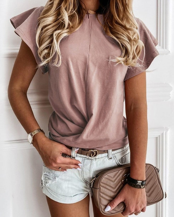 Solid Color Ruffle Hem Short Sleeve T-shirt