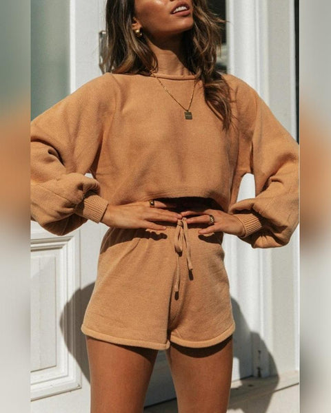 Solid Color Lantern Sleeve Knitted Suit Sets