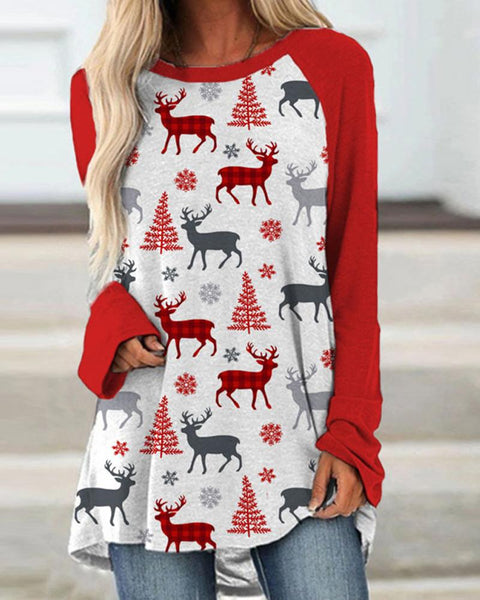 Christams Patterns Long Sleeve Loose T-shirts
