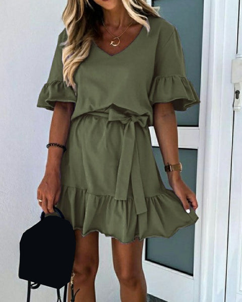 Solid Short Sleeve Lace-up Waist Loose Dress