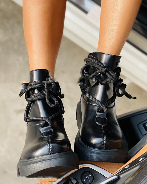 Solid Round-toe Lace-up Platform Martins Boots
