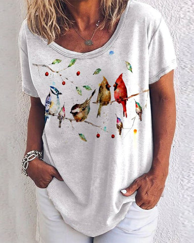 Bird Print Short Sleeve Loose T-shirts