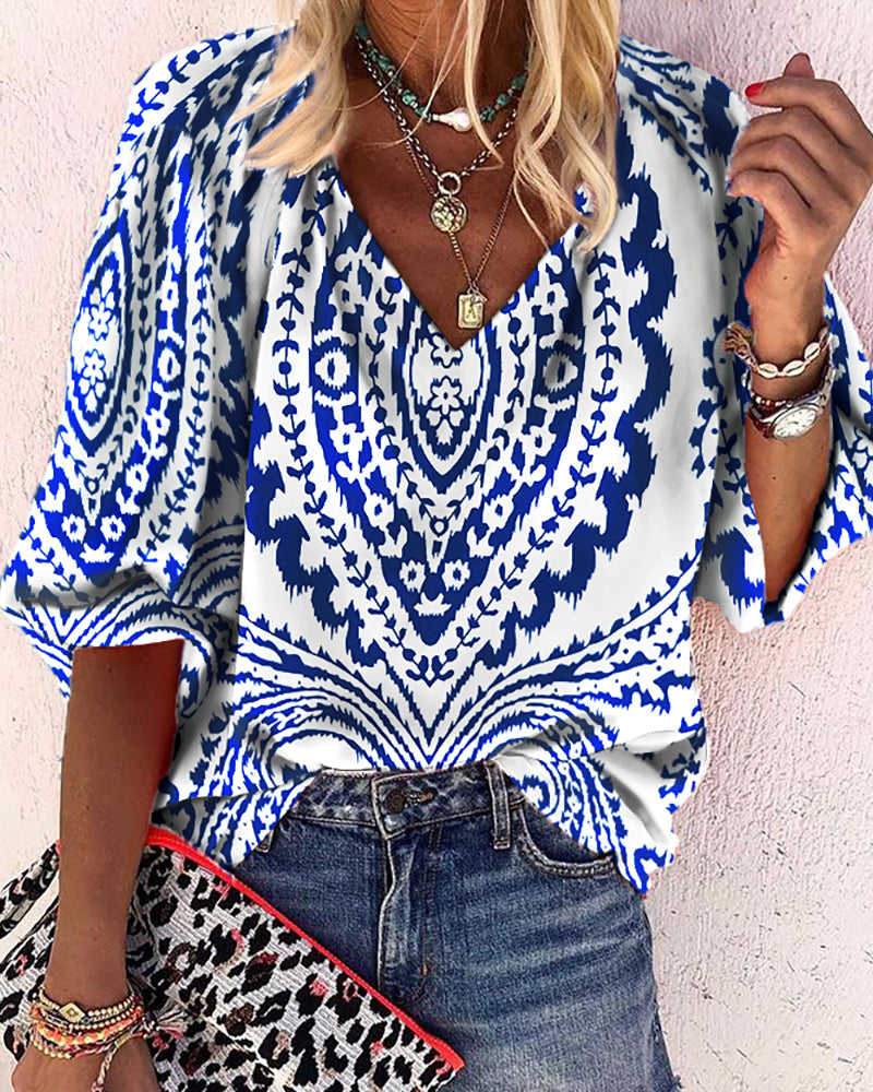 Graphic Print Half Sleeve Casual Top