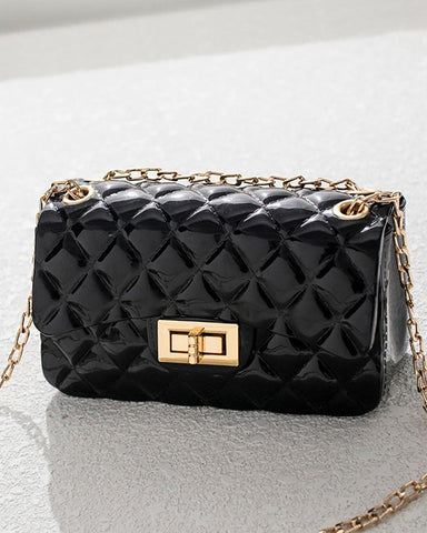 Quilted Twisted Lock Chain Crossbody Bag