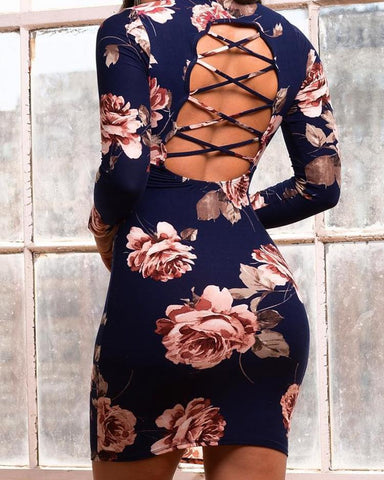 Floral Lace-up Open Back Bodycon Dress