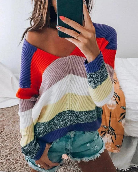 Comfy Striped Colorblock V-neck Sweater